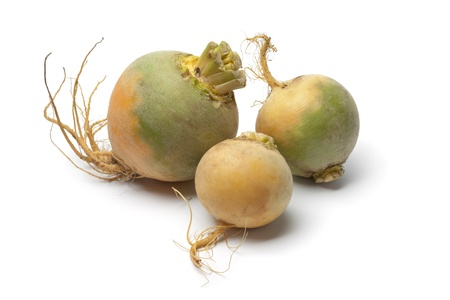 swede: Yellow turnips on white background Stock Photo