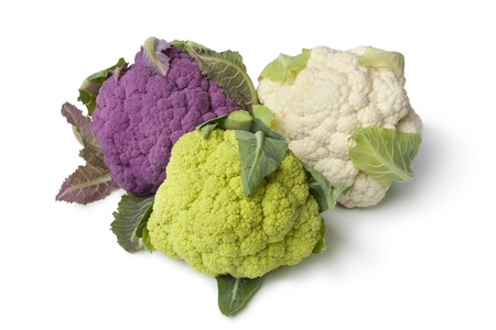 cauliflower: Fresh purple, green and white cauliflower on white background