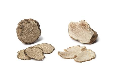 Black and white truffle on white background