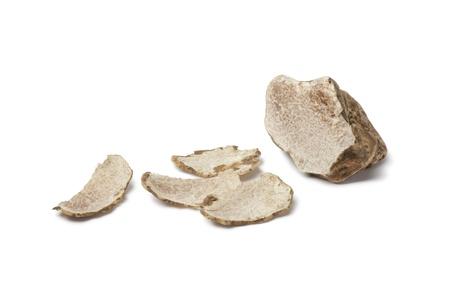 white truffle: Tuber magnatum  on white background Stock Photo