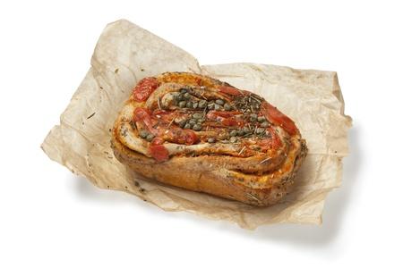 Fresh tomato Caper bread on white background Stock Photo - 12793587