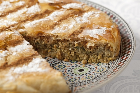 Fresh baked Moroccan Pastilla close up
