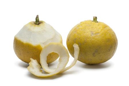 Bergamot oranges with a peeled skin Banque d'images