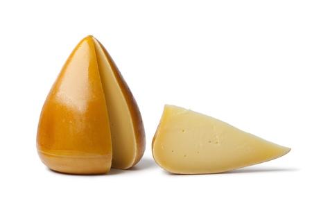 Organic Spanisch smoked cheese on white background