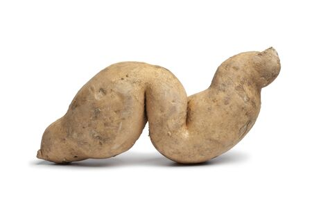 deformation:  Sweet potato in a special shape on white background