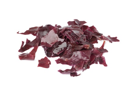 Salted Dulse Seaweed on white background Stock Photo