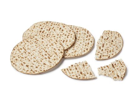 Fresh matzo on white background photo