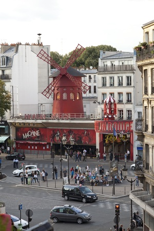 moulin:  Moulin Rouge Montmartre Paris France in daytime Editorial