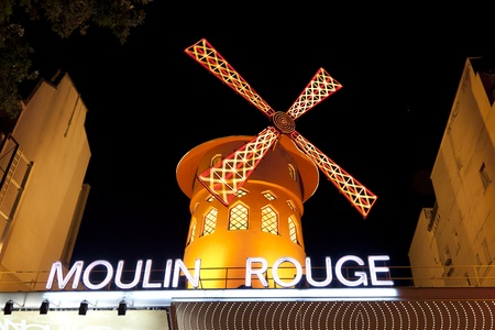 moulin:  Moulin Rouge Montmartre Paris France in the evening