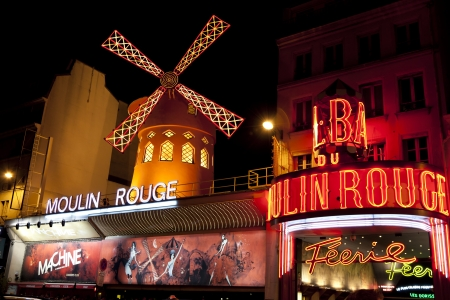 rouge:  Moulin Rouge Montmartre Paris France in the evening