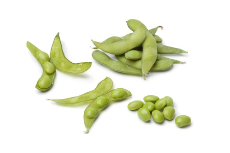 glycine:  Fresh soybeans and pods on white background Stock Photo