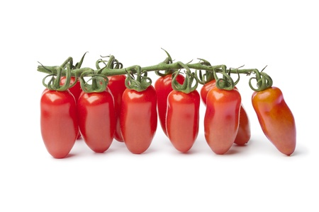 Baby San Marzano's tomatoes on a vine on white background