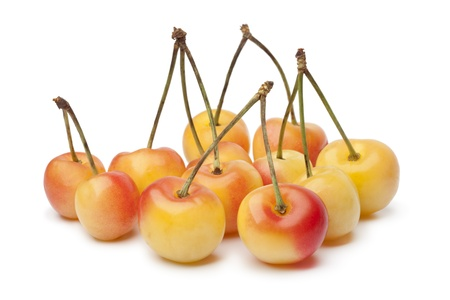 Rainier cherries on white background Banque d'images