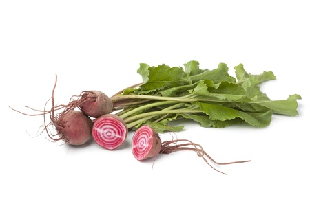 rote:  Fresh raw Chioggia  beets on white background Stock Photo