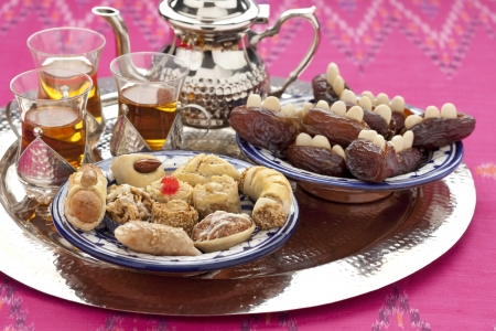 Moroccan high tea with cookies and filled dates