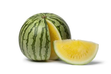 seedless:  Seedless yellow watermelon on white background Stock Photo