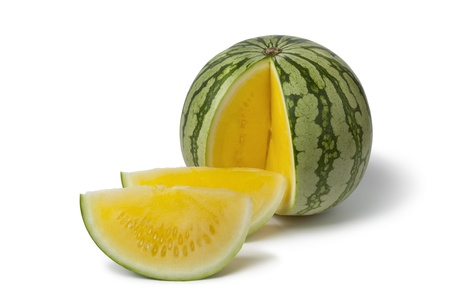 Seedless yellow watermelon on white background Banque d'images