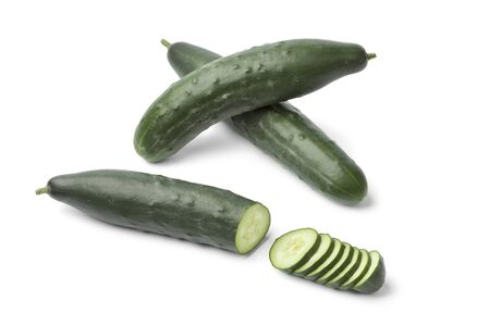 homegrown:   Fresh homegrown cucumbers on white background