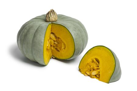 named:  Grey pumpkin named Confection with a slice on white background