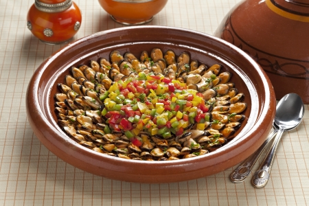 Moroccan mussel dish from Marakech Stockfoto