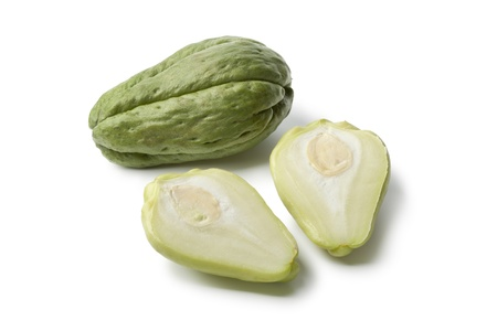 chayote: Whole and partial chayote  on white background Stock Photo