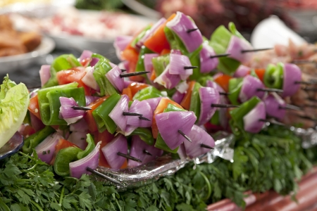 souk:   Dish with vegetable kebab at the Djemma El Fna  market in Morocco Stock Photo