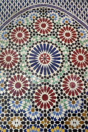Traditional Moroccan mosaic Marrakesh, Morocco, April 1, 2012