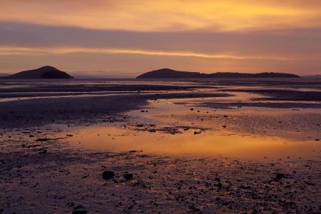 Sunset on Shelly beach at the Coromandel New Zealand photo
