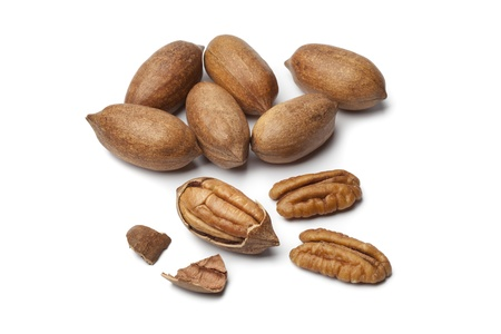 pecan:  Pecan nuts on white background Stock Photo