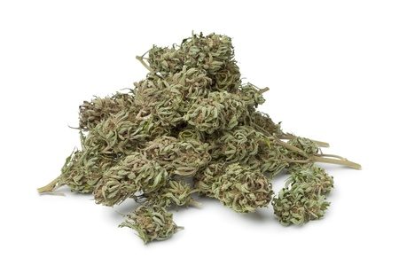 Dried marijuana buds with visible THC on white background Banque d'images
