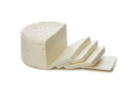 feta cheese: Fresh Feta cheese from sheep milk on white background