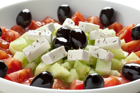 greek salad: Greek salad with feta cheese, black olives, cucumber and tomatoes