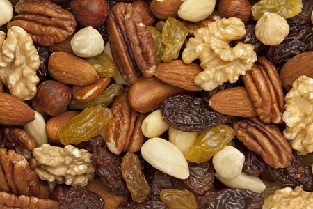 mix fruit: Raisons and nuts full frame