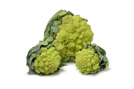 romanesco:  Large and mini Romanesco cabbages on white background