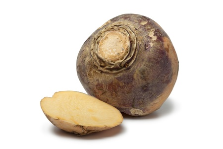 rutabaga: Swede with a slice on white background Stock Photo