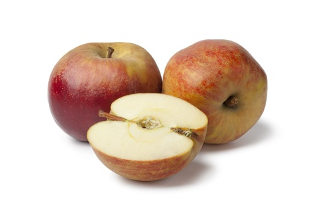 belle: Belle de Boskoop apples on white background