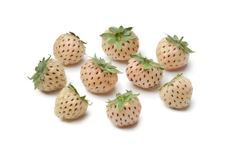 heirloom: Fresh pineberries on white background