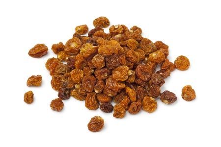 Heap of dried Cape gooseberries on white background Stock Photo