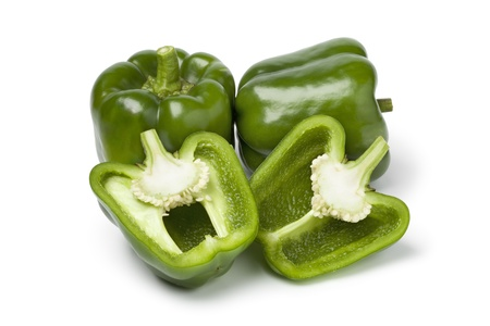bell peppers: Green bell peppers on white background