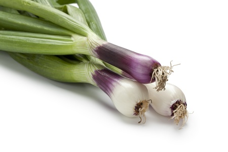 spring onions: Fresh red spring onions on white background