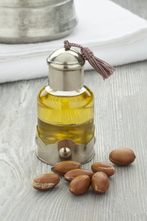 Moroccan cosmetic Argan oil and nuts