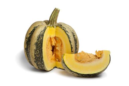 pumpkin seeds:  Tonda Padana pumpkin with seeds on white background Stock Photo