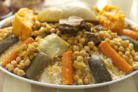 couscous: Moroccan couscous dish close up Stock Photo