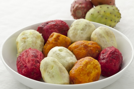 Peeled Prickly Pear Fruit on a dish close up Stock Photo