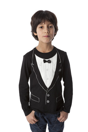 eight year old: Well dressed eight year old boy on white background