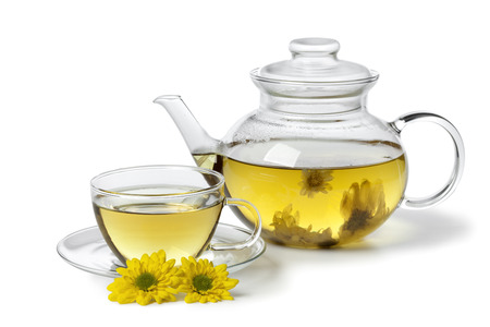 Pot with Chinese Chrysanthemum tea Stock Photo - 26763371