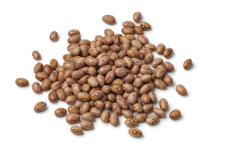Borlotti beans on white background