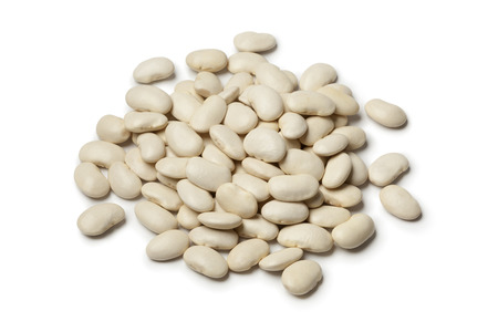 Lima beans on white background
