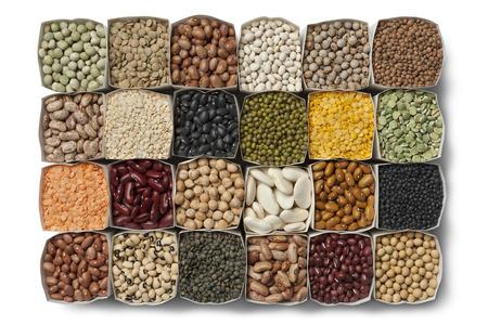 흰색 배경에 가방에 말린 콩, 렌즈 콩의 다양한 스톡 콘텐츠