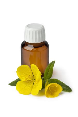 Fles met teunisbloemolie en verse bloemen op een witte achtergrond